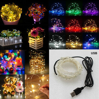 USB LEDs Copper Wire String Fairy Light Strip Lamp Xmas Party Waterproof TKL FA