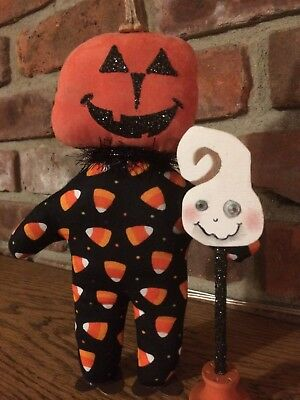 Primitive Halloween Ghost Lantern Light Early Look Farmhouse Cupboard Tuck FALL