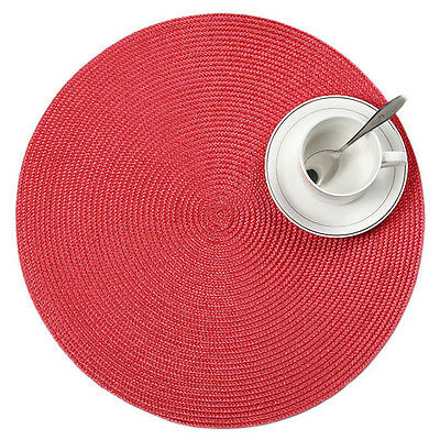 1pcs 38cm PP Round Jacquard Weaved Non-slip Placemats Dining Table Mats Home