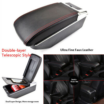 1X PU Double-layer Telescopic Style Car Central Armrest Box Container Cup Holder