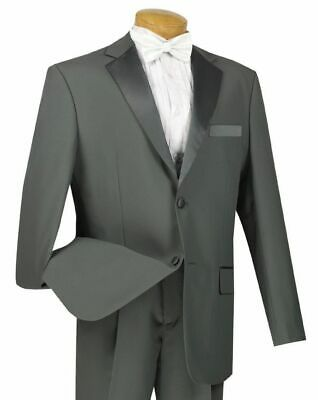 LUCCI Men's Gray Classic Fit Formal Tuxedo Suit w/ Sateen Lapel & Trim NEW