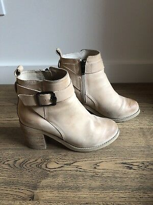 NUDE Womens Beige Leather Ankle Boots Size 37