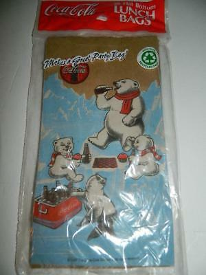 Vtg Coca Cola Paper Lunch Bags Polar Bears Seal Drinking Coke Party Supplies New