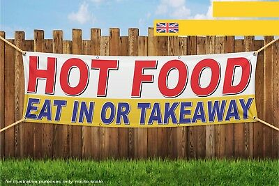 Hot Food Eat In Or Takeaway yellow Heavy Duty PVC Banner Sign 3778