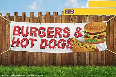 Burgers and Hot Dogs Food Fast Takeaway Heavy Duty PVC Banner Sign 3779