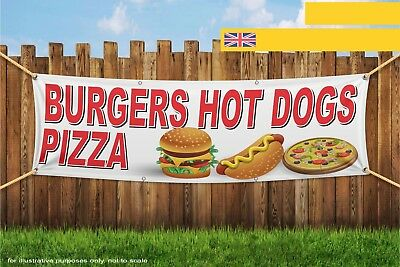 Burgers Hot Dogs Pizza Fast Food Takeaway Heavy Duty PVC Banner Sign 3780