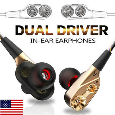 US Dual Dynamic Driver In-Ear Earbud Headphones Audio Deep Bass For Mobil Phone
