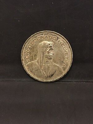 1940-B Switzerland 5 Francs .835 Silver Coin