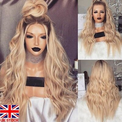 Womens Bronze Long Full Wavy Front Lace Wig Curly Natural Hair Full Wigs Cosplay