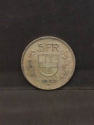 1932 B Switzerlad 5 Franc Silver Coin