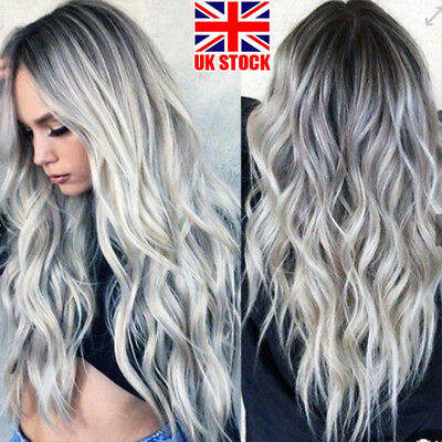 Blonde Ombre Wig Natural Long Curly Straight Wavy Women Party Ladies Wig Grey HS