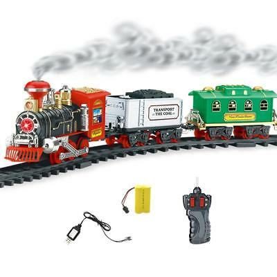 Electric Track Train Toy Set Steam Train With Smoke Lights Sounds Kid's Gift