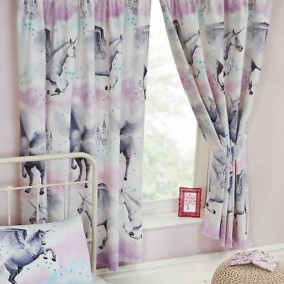 "STARDUST UNICORN PURPLE AND TEAL CURTAINS LINED 66"" x 72"" KIDS GIRLS BEDROOM"