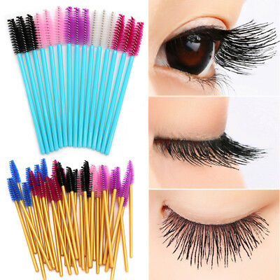 50Pc Disposable Eyelash Wands Mascara Brushes Lash Extension Applicator Spoolers