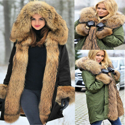 Ladies Faux Fur Hooded Coat Winter Trench Parka Thick Warm Jacket Long Outerwear