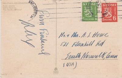 Finland-1947 Postage paid 7 M on Helsinki postcard cover to United States