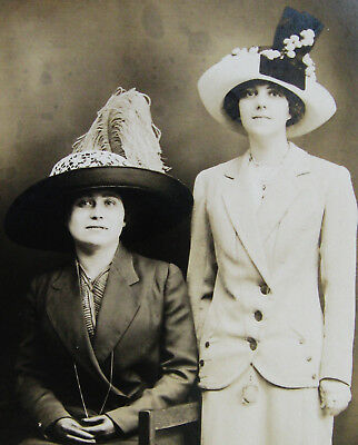 Vintage Unposted Rppc 2 Lovely Young Women Wearing Lovely Outfits & Fancy Hats