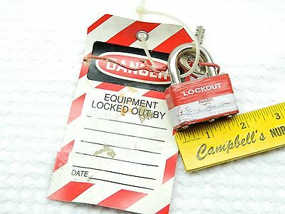 Single Master Lock & Key Lockout Tag Out Pad Lock Red With Lockout Tag