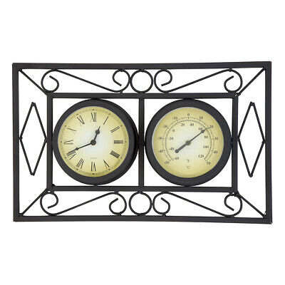 Charles Bentley Ornate Garden Wall Mounted Frame Clock & Thermometer in Black