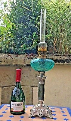 Oil Lamp Pewter Style & Coloured Blue Glass  French Paraffin 64 Cm High