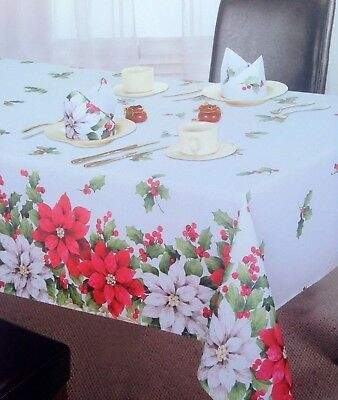 "Large Rectangular Poinsettia Christmas Tablecloth 70"" x 108(178cm x 275cm)"