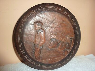 Antique Black Forest/swiss Style Wooden 24Cm Diam Box With Carved Farmer &cattle