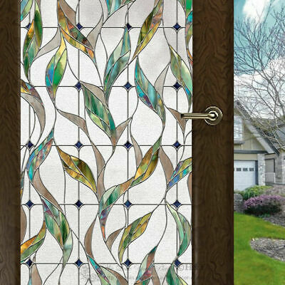 Colour Leaves Window Film Print Sticker Cling Stained Glass UV Block Gift Deco