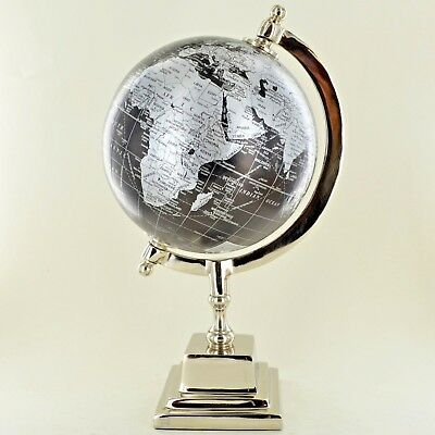 """Globe in Black and Silver 6"""" with Chrome Base Luxury Unique Home Decor 11369"""