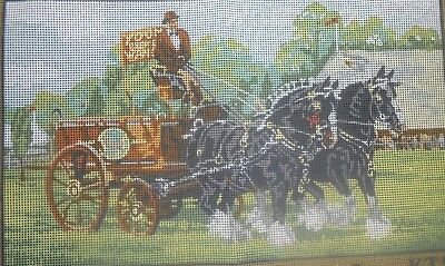 "Kinetic ""Champion Shire Horses""  Printed Tapestry Canvas only"