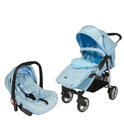 Leatherette Travel System 2-1,From Birth w/ Car Seat,Footmuff,Changing Bag Blue