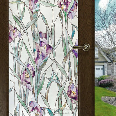 Purple Flower Window Film Print Sticker Cling Stained Glass UV Block Gift Decor