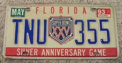 Florida License Plate -- Super Bowl Xxv Silver Anniversary Game - Free Shipping