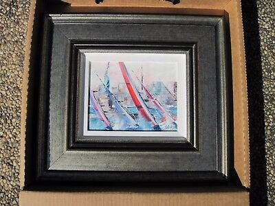 """Victor Spahn """"SAILS OUTSIDE NEW YORK"""" (Art, Sailing, Painting, Framed) with COA"""