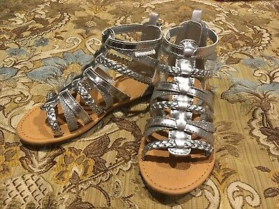 """c49eb64459206 NWT CARTERS TODDLER Girls Silver """"Smile"""" Gladiator Zipper Sandal Shoes (5M)"""