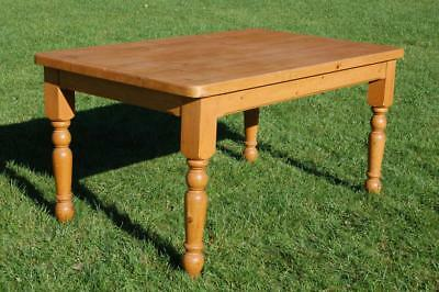 Chunky Solid Pine Rectangular Country Kitchen Table, Antique Pine Dining Table