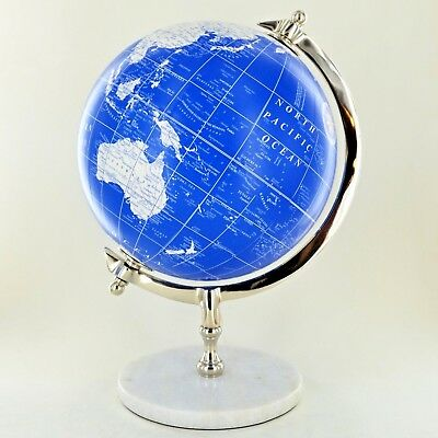 """Globe in Blue & White 8"""" with Marble Base Luxury Unique Home Decor 11373"""