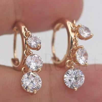 18K Gold Filled - Multilayer Big & Small Round Topaz Gems Party Lady Earrings