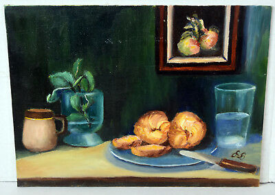"12"" Oil Painting Canvas Lucille Bodiford Still Life Interior View Table Bread"
