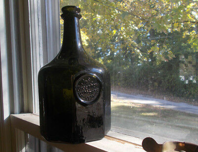 Blackglass Jno Greenhow Williamsburg 1770 Applied Seal Hand Blown Repro Bottle