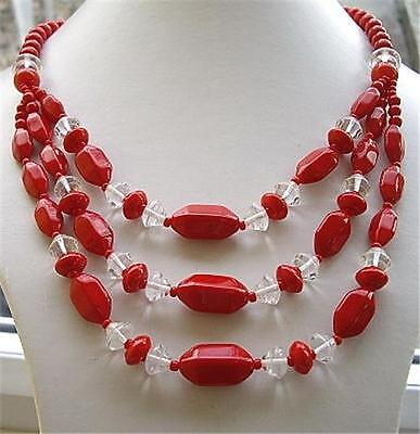 Fab Vintage Chunky Triple Row Drape Red & Clear Glass Necklace