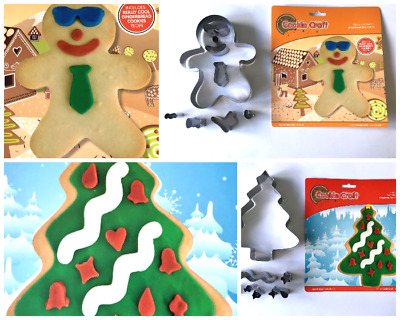 Festive Gingerbread Boy And Christmas Tree Biscuit Cookie Cutter Set