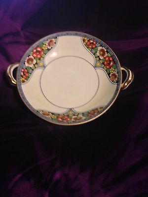 Antique Noritake Hand Painted Two Handle Footed Candy Dish XLNT Condition SALE!