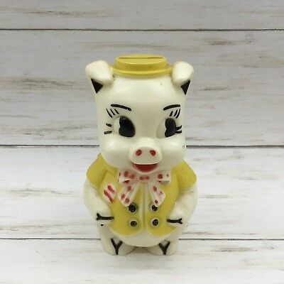 Vintage White and Yellow Plastic Handsome Pig Piggy Bank Figurine