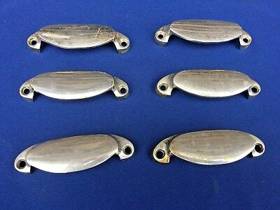 Vintage Chrome Plated Brass Drawer Pulls - Set of 6