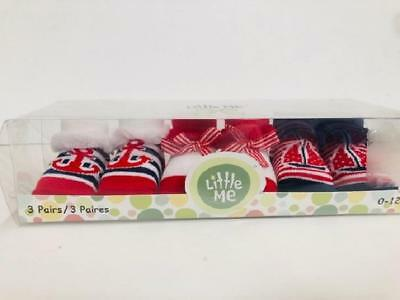 Little Me 3 Pairs Baby Socks in Gift Box, 0-12 M, Nautical Theme, Red/Blue/White