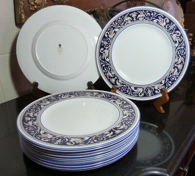 "Wedgwood Dark Blue Florentine 10 3/4"" Dinner Plate W1956 Gently Used - 12 Avail."