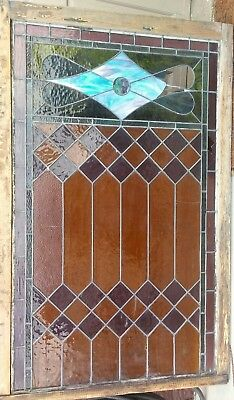 "Large Antique Stained Glass Window For Repair 66""x42"""