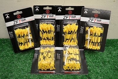 "6 Zero Friction ZFTour 3 Prong Yellow Golf Tees 2 3/4"" - 40 Per Pack - ZT10013"