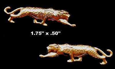 Vintage Raw Brass Stamping of Leopard  One Pair  Mirror Image