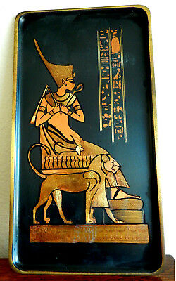 Vintage Egyptian Hand Crafted Plate/Wall Hanging/ Ramses on Throne w. Lion